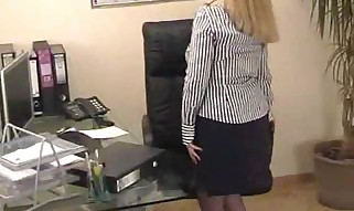 Chubby Secretary Taunts In the Office In Blue